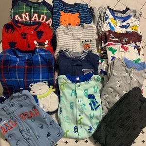 Lot of 14 One Piece PJs 0-3M/3M